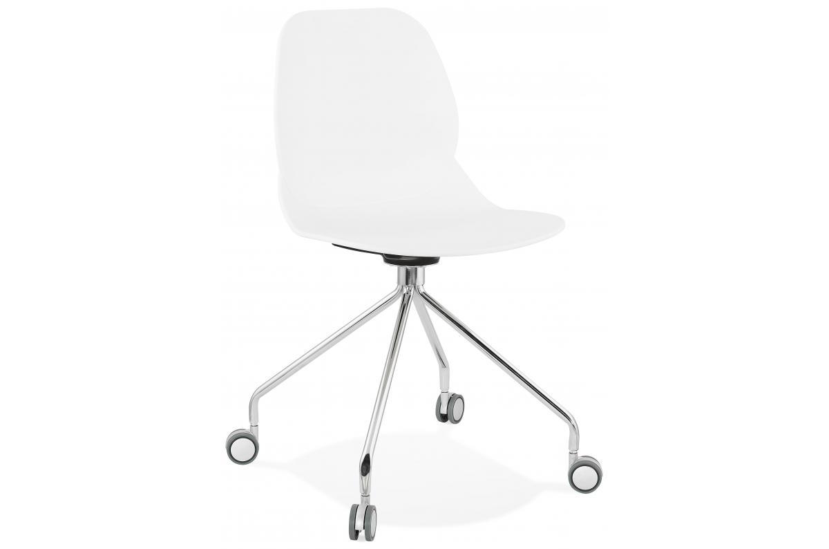 Chaise de Bureau Blanche à Roulette LADE - Fauteuil ...