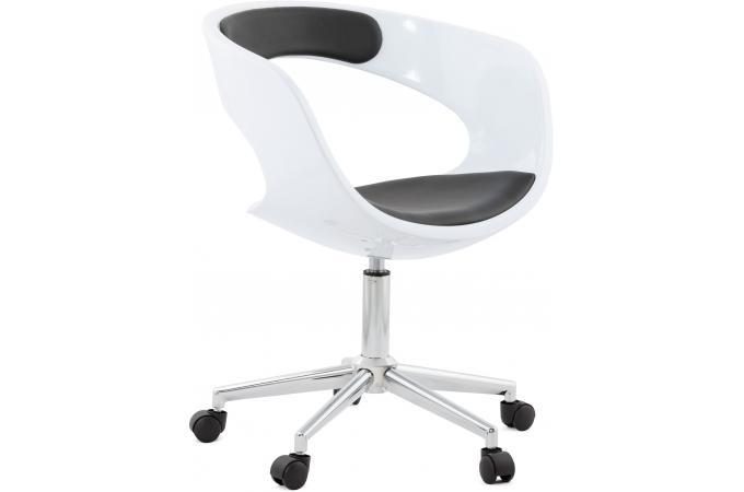 chaise de bureau blanche et noire pivotante aussi. Black Bedroom Furniture Sets. Home Design Ideas
