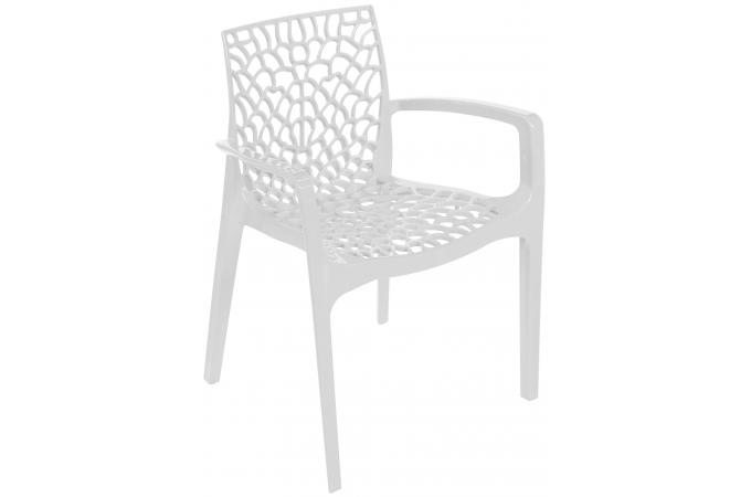 Chaise design blanche avec accoudoirs gruyer chaise for Chaise blanche design pas cher
