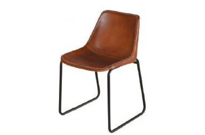 chaise design en cuir marron senzi chaise design pas cher. Black Bedroom Furniture Sets. Home Design Ideas