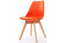 Chaise Design Style Scandinave Orange ESBEN - Chaise orange design