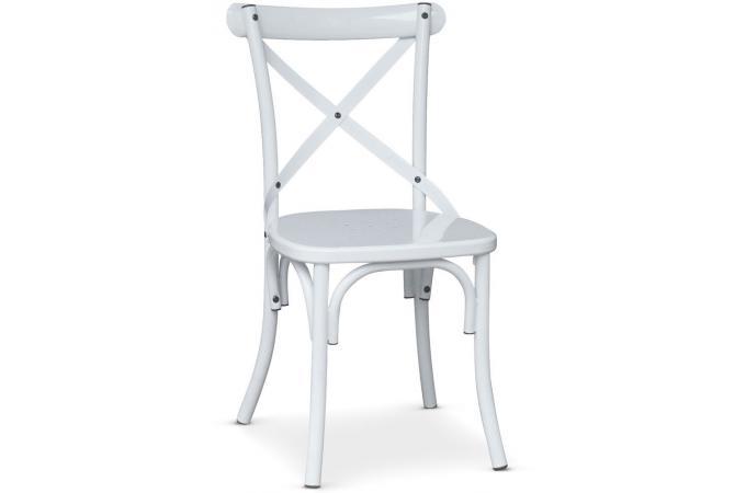 Chaise en m tal blanc troquet chaise design pas cher for Chaise metal blanc