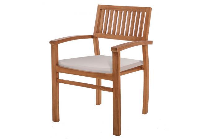 Chaise Extérieur Teck Marron Blanc PAOLA Plus d\'infos