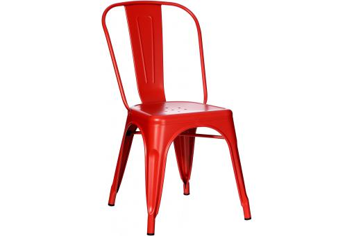 Chaise industrielle en métal rouge HOUSTON