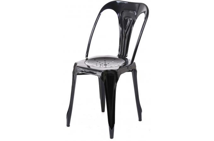 chaise industrielle noire m tal kirk chaise design pas cher. Black Bedroom Furniture Sets. Home Design Ideas