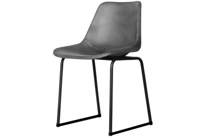 chaise m tal et cuir gris varadero chaise design pas cher. Black Bedroom Furniture Sets. Home Design Ideas
