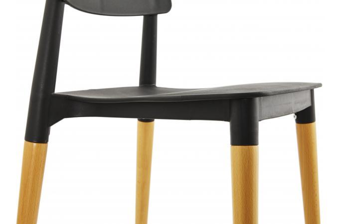 chaise noire pieds bois style scandinave beauty chaise design pas cher. Black Bedroom Furniture Sets. Home Design Ideas
