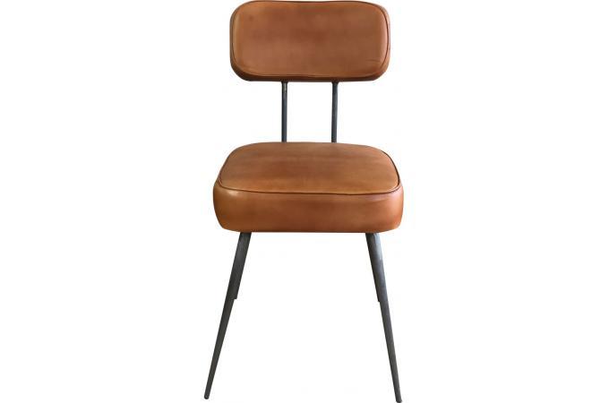 Chaise Metal Et Cuir Marron Clair BARACOA Design