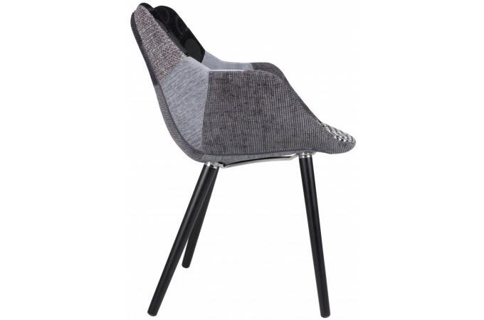 chaise avec accoudoirs patchwork grise max chaise design pas cher. Black Bedroom Furniture Sets. Home Design Ideas