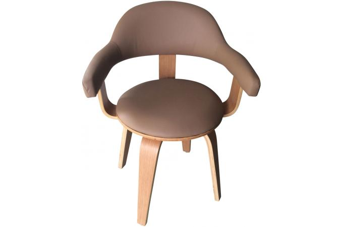 Chaise pivotante style scandinave en bois massif beige chenia