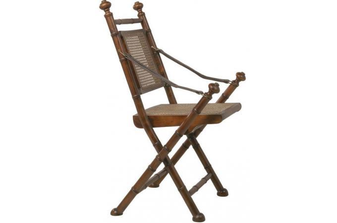 Chaise Pliante En Bois Et Rotin Naturel Colonial With Style