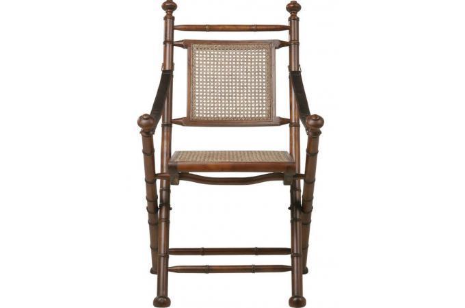 Chaise pliante en bois et rotin naturel colonial chaise for Chaise bois et rotin