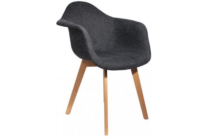 chaise scandinave avec accoudoir en maille noire fjord. Black Bedroom Furniture Sets. Home Design Ideas