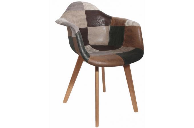 chaise scandinave avec accoudoir patchwork marron fjord. Black Bedroom Furniture Sets. Home Design Ideas