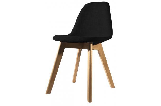 Chaise scandinave en tissu noire fjord chaise design pas for Chaise noire et bois