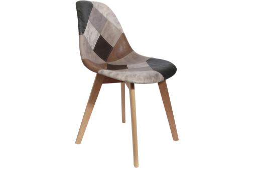 Chaise Scandinave Patchwork Marron FJORD - Salle a manger scandinave