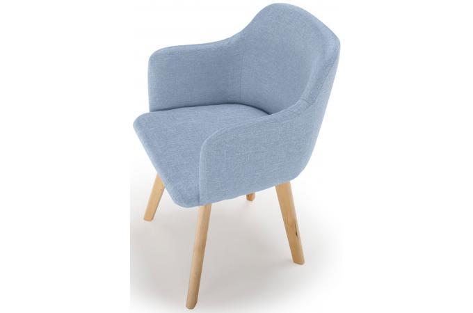 Chaise Style Scandinave Tissu Bleu Saga Chaise Design Pas Cher