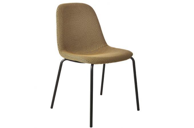chaise tissu jaune moutarde velvito chaise design pas cher. Black Bedroom Furniture Sets. Home Design Ideas