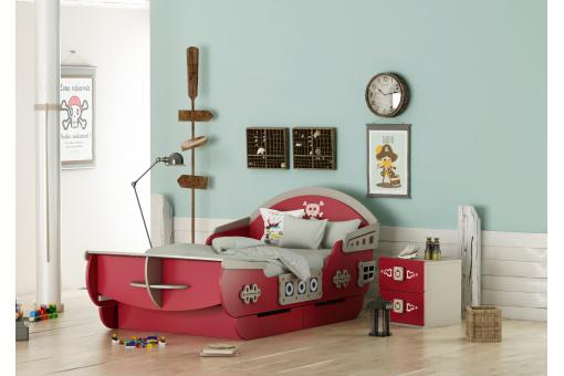 table de chevet rouge motif pirate piranha table de chevet pas cher. Black Bedroom Furniture Sets. Home Design Ideas