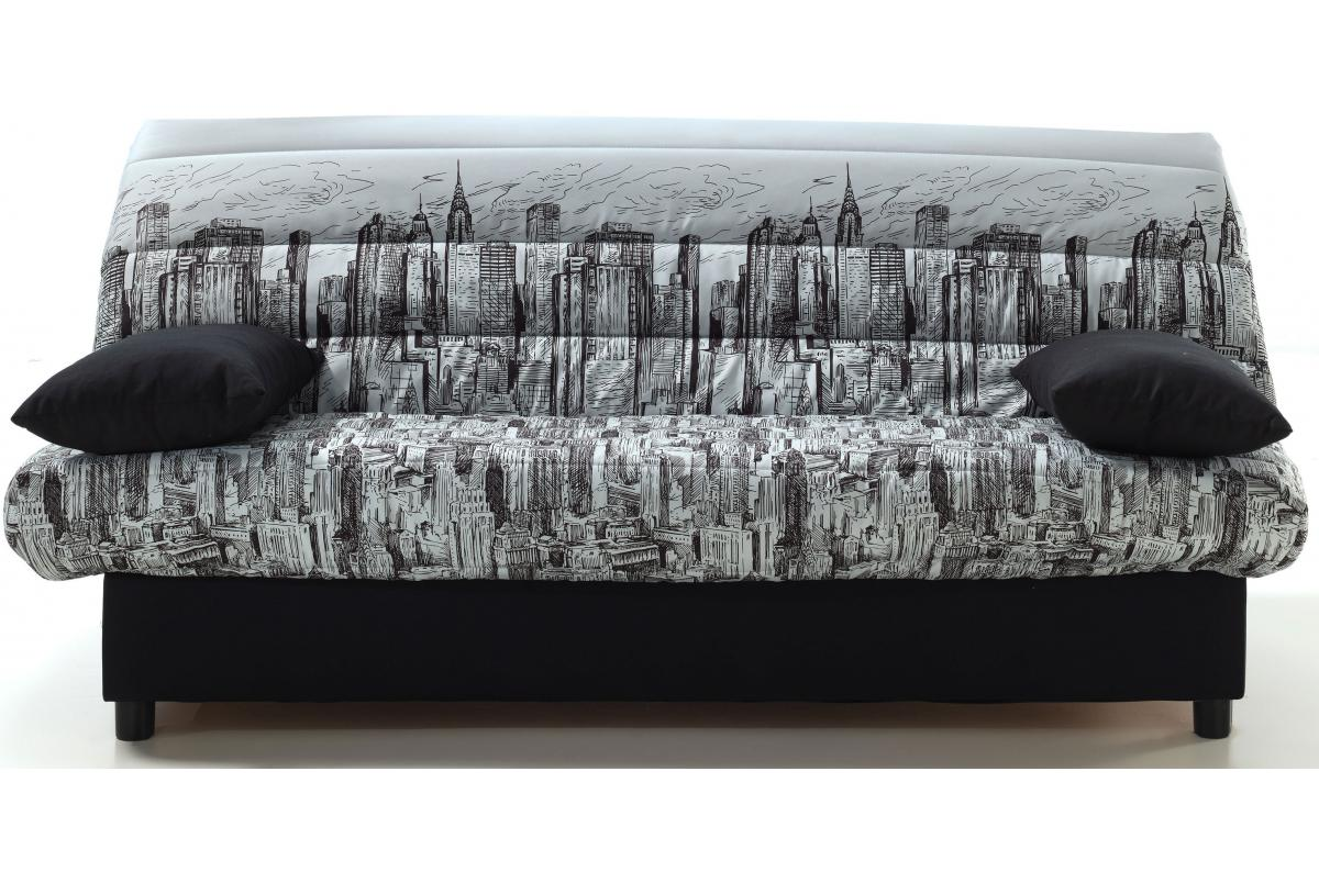 Clic Clac Motif Manhattan Gris Et Noir Eco Canape Convertible Pas Cher