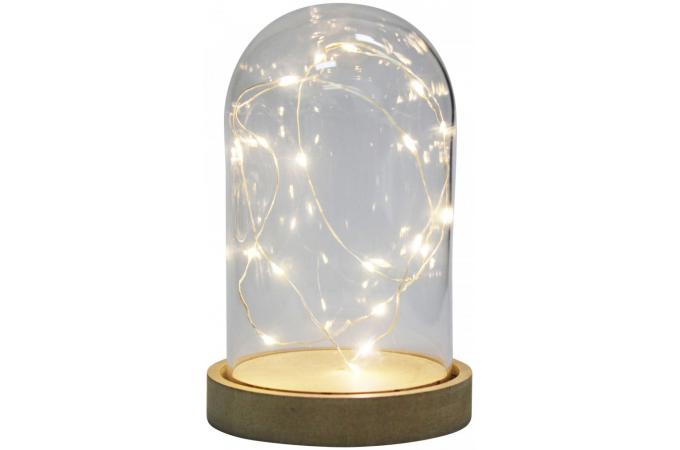 cloche en verre guirlande piles 20 led lampe poser pas cher. Black Bedroom Furniture Sets. Home Design Ideas
