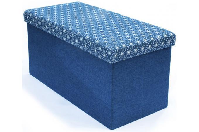 coffre rangement banc pliable bleu dotty meuble de rangement pas cher. Black Bedroom Furniture Sets. Home Design Ideas