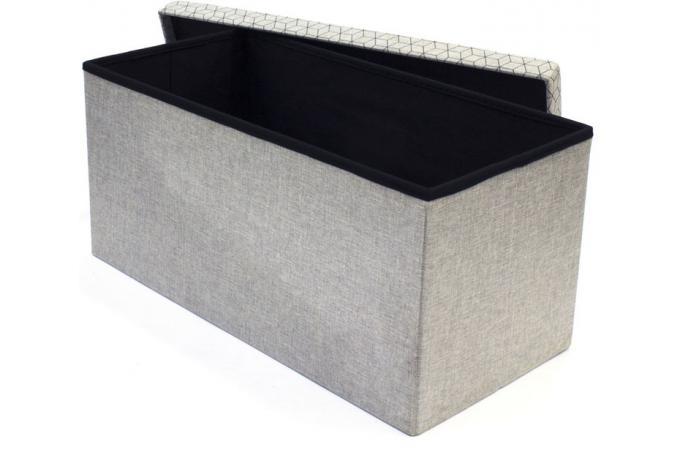Coffre rangement banc pliable gris losange DOTTY - Meuble de ...
