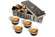 Coffret Cafe Tasse X4 + Boite Metal 3 Noir - Service cafe the design