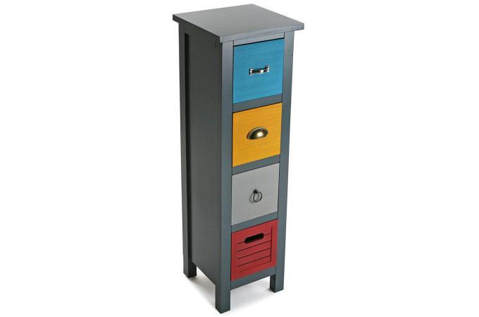 Colonne de rangement 4 tiroirs patchos meuble de rangement pas cher - Petit meuble tiroirs pas cher ...