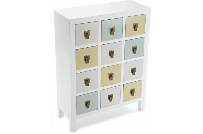 commode 12 tiroirs color s en bois blanche elsa meuble de rangement pas cher. Black Bedroom Furniture Sets. Home Design Ideas