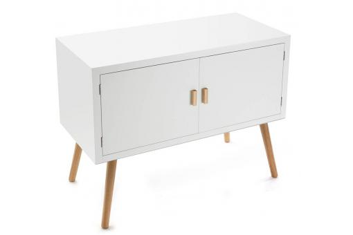 Commode 2 portes blanches design scandinave ABIGAELLE