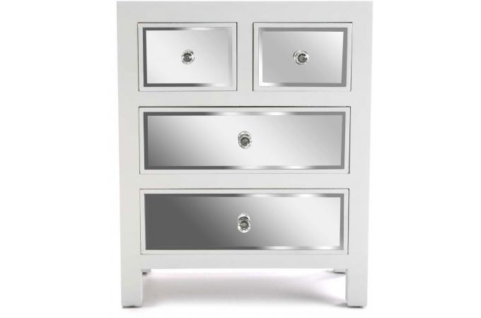 Commode 4 Tiroirs Argent Lucca Commode Pas Cher