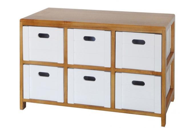 commode 6 tiroirs coloris bois et blanc chor commode pas cher. Black Bedroom Furniture Sets. Home Design Ideas