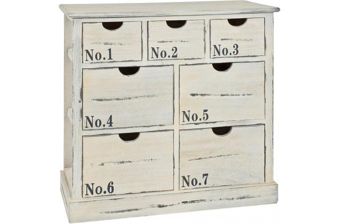Commode 7 tiroirs en bois massif blanchi no 1 franz meuble de rangement pa - Commode bois blanchi ...