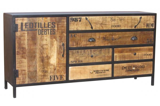 commode en bois et en m tal l160 cesarine commode pas cher. Black Bedroom Furniture Sets. Home Design Ideas