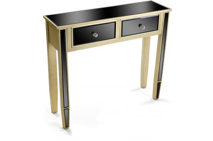 console 2 tiroirs noire et dor e varana console. Black Bedroom Furniture Sets. Home Design Ideas