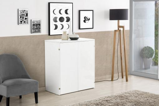 Console Extensible 4 Allonges Blanc PUNTA - Meuble gain de place