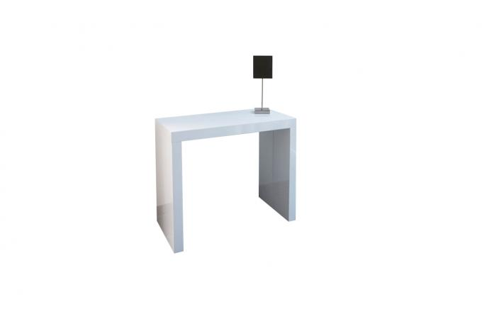Console extensible laqu blanc 225cm mayline table - Table console extensible blanc laque design ...