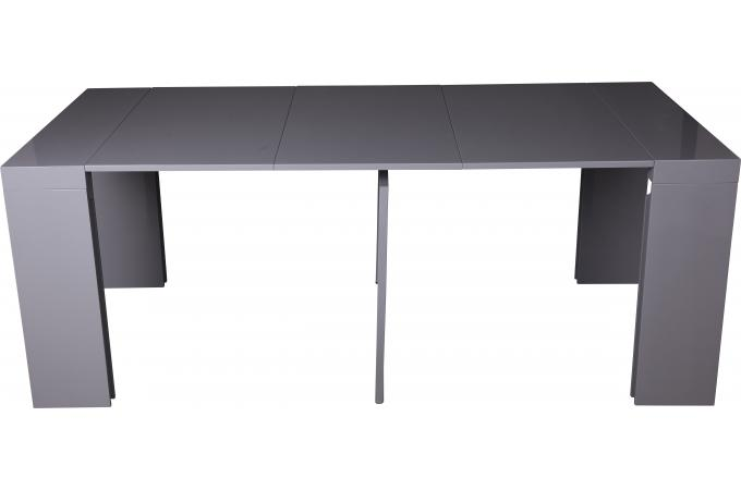 console extensible grise 180cm laque boston table console pas cher. Black Bedroom Furniture Sets. Home Design Ideas