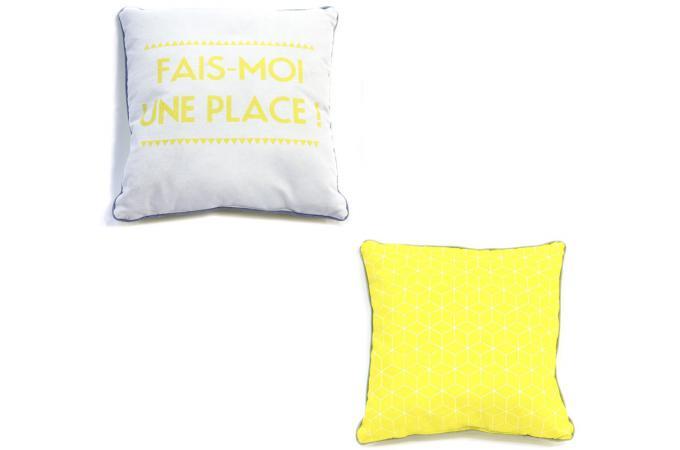 coussin carr 40x40 cm jaune sosoft coussin pas cher. Black Bedroom Furniture Sets. Home Design Ideas