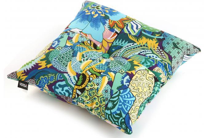 coussin carr en tissu patchwork tropical coussin pas cher. Black Bedroom Furniture Sets. Home Design Ideas