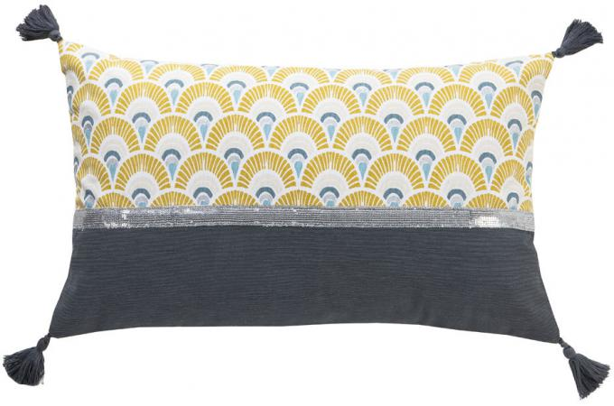 coussin imprim gris et jaune avec pompons gris 30x50cm. Black Bedroom Furniture Sets. Home Design Ideas