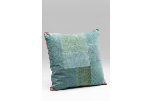 coussin kare design style patchwork bleu gris 50x50 pelida coussin pas cher. Black Bedroom Furniture Sets. Home Design Ideas