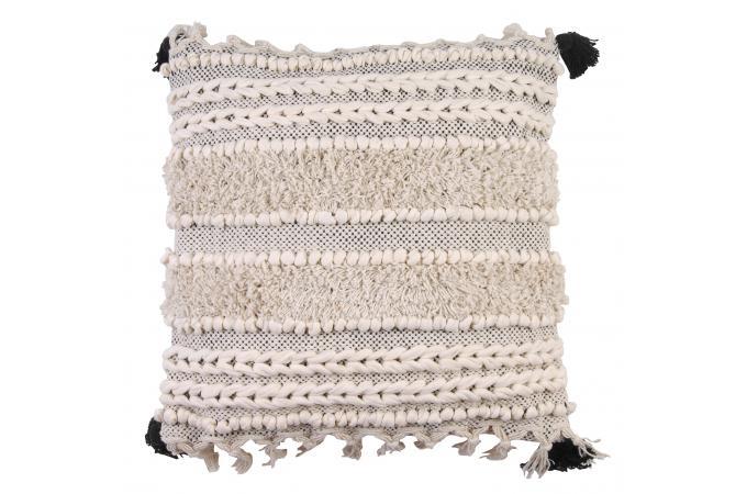 coussin marocain macram blanc et bleu crochet coussin pas cher. Black Bedroom Furniture Sets. Home Design Ideas
