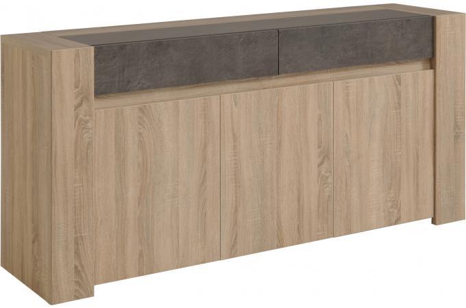 enfilade plaqu en ch ne brut effet b ton spoid meuble de rangement pas cher. Black Bedroom Furniture Sets. Home Design Ideas