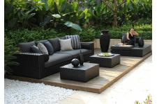 Ensemble 1 Canapé 4 Places + 2 Tables Basses + 1 Méridienne + 1 Table d'appoint Noir DIVIN - Salon de jardin design