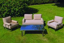 Ensemble 1 Fauteuil 2 Places + 2 Fauteuils 1 Place + Table Basse MIRACLE - Salon de jardin design