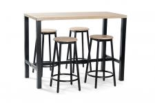 Ensemble 1 Table et 4 Tabourets de Bar Noir LAZA - Table bar noir