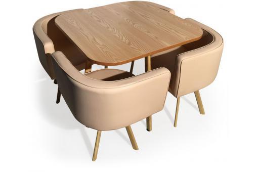 Ensemble de table et 4 chaises matelass es scandinave for Ensemble table et chaise style scandinave
