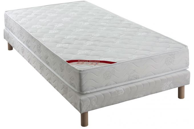 ensemble matelas mousse 25kg m3 cm 90x190 cm et sommier tapissier matelass 90x190 cm vesta. Black Bedroom Furniture Sets. Home Design Ideas